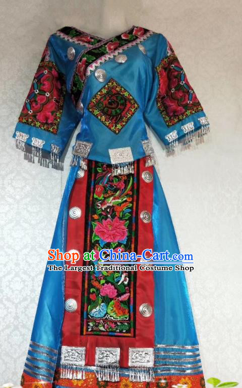 China Miao Nationality Embroidered Blue Blouse and Skirt Outfits Hmong Clothing Traditional Ethnic Women Apparels Minority Folk Dance Costumes