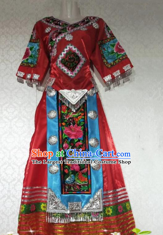 China Folk Dance Red Outfits Traditional Miao Ethnic Nationality Embroidered Costumes