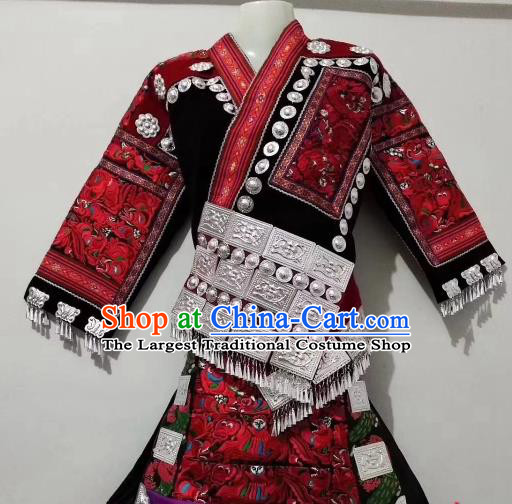 China Miao Ethnic Folk Dance Embroidered Costumes Traditional Minority Blouse and Skirt Outfits for Kids