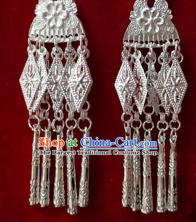China Guizhou Handmade Miao Ethnic Earrings Hmong Minority Bride Long Tassel Ear Accessories