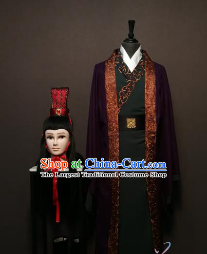 China Ancient Minister Clothing Drama Three Kingdoms Period Advisor Sima Yi Costumes and Headwear