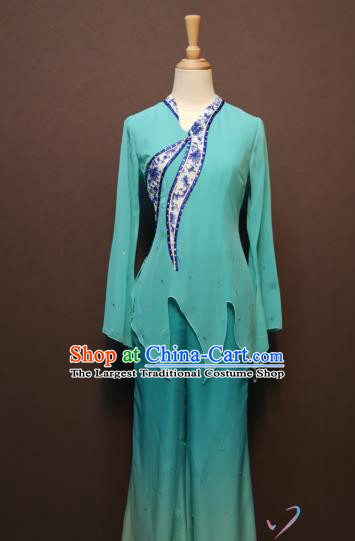 China Folk Dance Costumes Fan Dance Dress Spring Festival Gala Blue Blouse and Pants Outfits