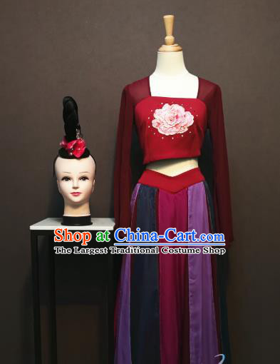 China Spring Festival Gala Wine Red Blouse and Skirt Outfits Women Flying Dance Dress Classical Dance Costumes and Headwear