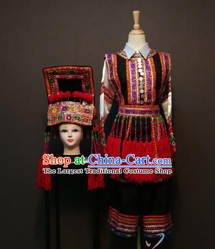 China Traditional She Nationality Costumes Ethnic Folk Dance Clothing Xiangxi Yi Minority Women Top and Skirt with Hat