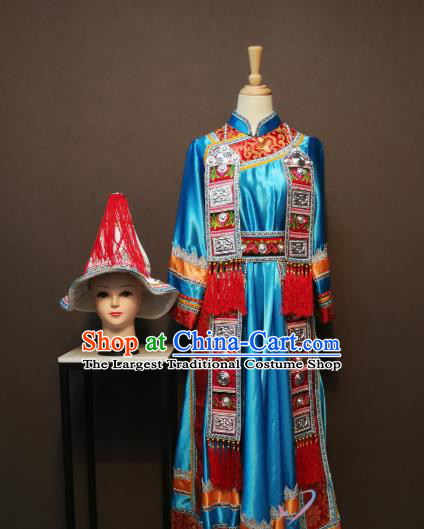 China Traditional Yugu Nationality Blue Dress Minority Festival Women Costumes Yunnan Yughurs Ethnic Folk Dance Clothing and Hat