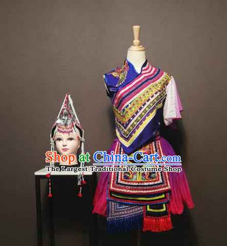 Custom China Traditional She Ethnic Folk Dance Clothing Minority Women Costumes She Nationality Embroidered Blue Blouse and Skirt and Headpieces