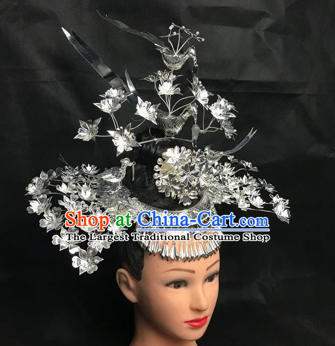 China Handmade Miao Minority Nationality Hair Crown and Hairpins Dong Ethnic Folk Dance Headdress