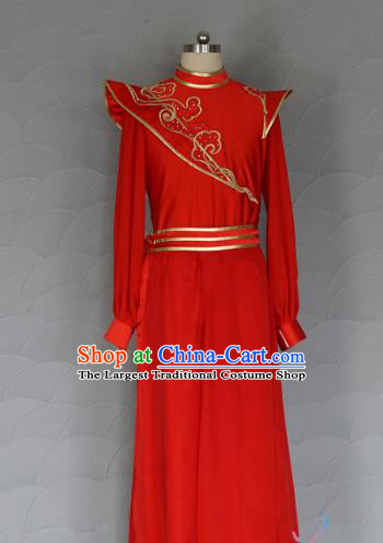 China Men Classical Dance Red Outfits New Year Drum Dance Costume Spring Festival Gala Clothing