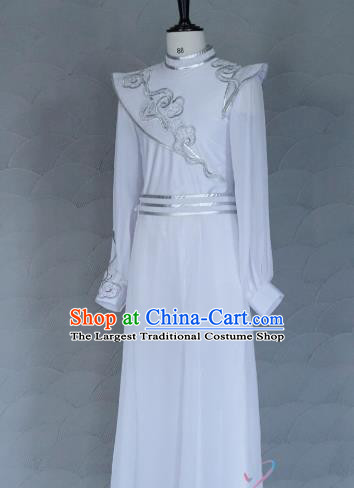 China New Year Drum Dance Costume Spring Festival Gala Clothing Men Classical Dance White Apparels