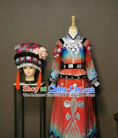 China Traditional Miao Nationality Costumes Ethnic Folk Dance Clothing Minority Wedding Dress and Headwear for Women