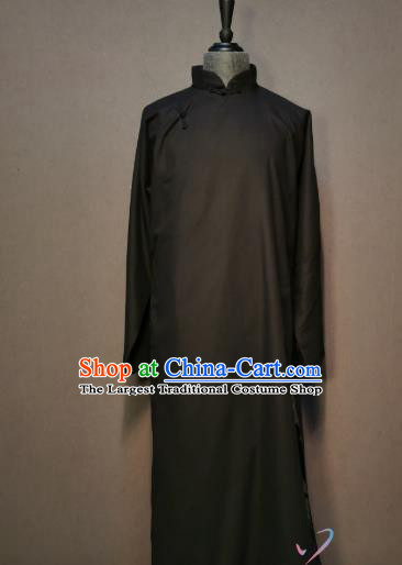 China Spring Festival Gala Men Robe Clothing Stage Show Costume Crosstalk Black Gown