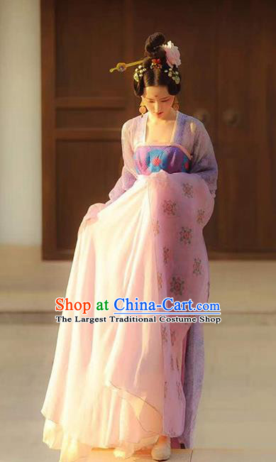 Traditional Chinese Tang Dynasty Palace Lady Costumes Ancient Court Princess Lilac Blouse and Dress Complete Set