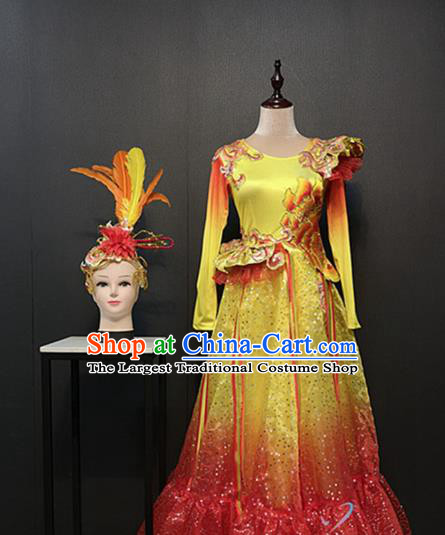 China Women Classical Dance Clothing Spring Festival Gala Opening Dance Costumes Peony Dance Yellow Dress and Feather Headwear