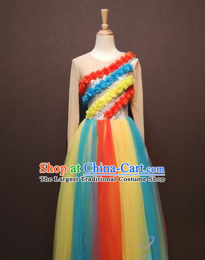 Women Modern Dance Clothing China Spring Festival Gala Opening Dance Costumes Rainbow Dance Dress