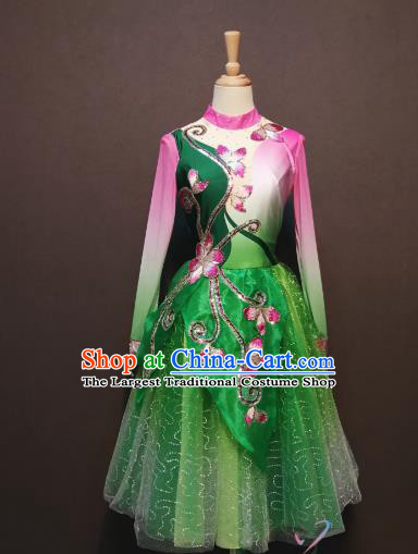 Women Modern Dance Clothing China Spring Festival Gala Opening Dance Costumes Square Dance Green Short Dress