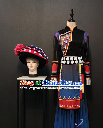Custom China Tujia Ethnic Female Clothing Traditional Minority Women Costumes Hani Nationality Folk Dance Outfits and Hat