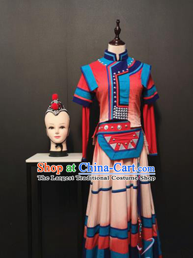 China Yi Ethnic Female Clothing Traditional Minority Women Costumes Custom Nationality Folk Dance Dress and Hair Accessories