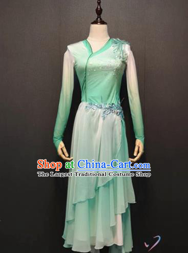 Chinese Umbrella Dance Clothing Traditional Classical Dance Green Dress Fan Dance Costume