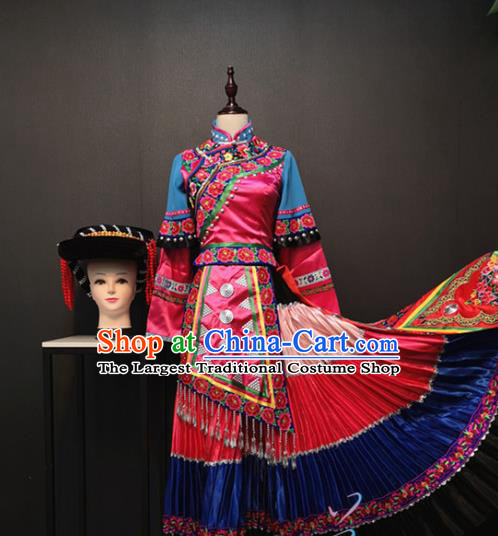Custom Yi Nationality Rosy Blouse and Long Skirt China Ethnic Folk Dance Clothing Traditional Minority Women Costumes and Hat