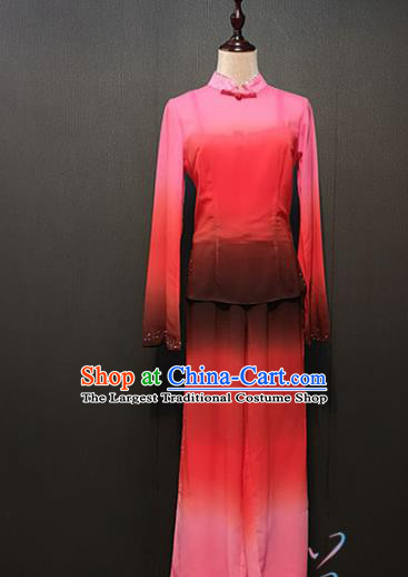 Chinese Fan Dance Clothing Traditional Folk Dance Costumes Stage Performance Jiu Er Red Outfits