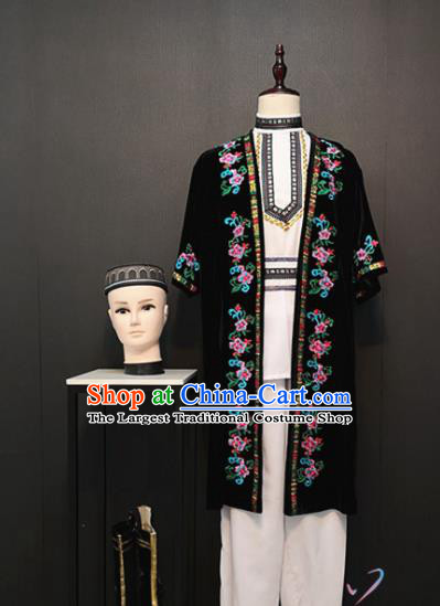 China Xinjiang Ethnic Clothing Traditional Minority Dance Costumes Custom Uyghur Nationality Effendi Apparels and Hat
