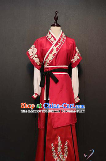 China Ancient Servant Girl Red Dress Traditional Drama Ming Dynasty Swordswoman Costume