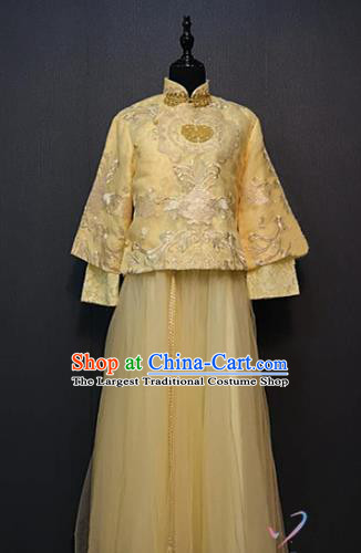 Republic of China Rich Lady Costume Traditional Drama Stage Performance Clothing Ancient Young Mistress Yellow Blouse and Skirt Outfits