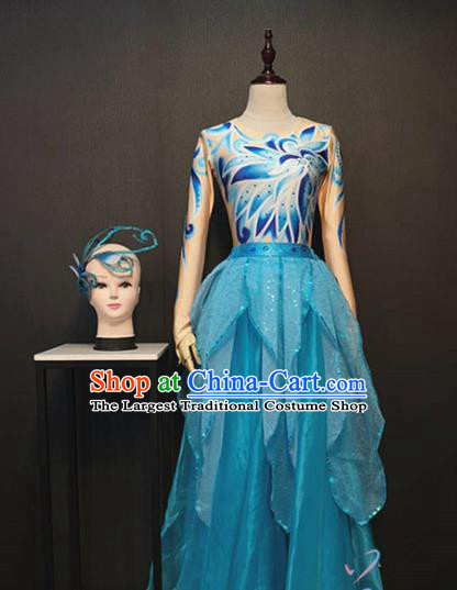 Top Opening Dance Blue Veil Dress Traditional Modern Dance Clothing Stage Performance Costume and Headpiece
