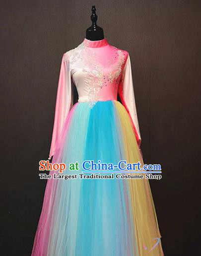 Top Modern Dance Veil Long Dress Traditional Modern Dance Rainbow Clothing Spring Festival Gala Stage Performance Costume