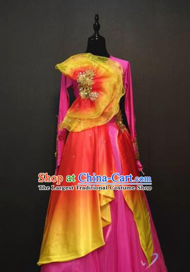 Stage Performance Costume Traditional Opening Dance Clothing Spring Festival Gala Modern Dance Rosy Long Dress