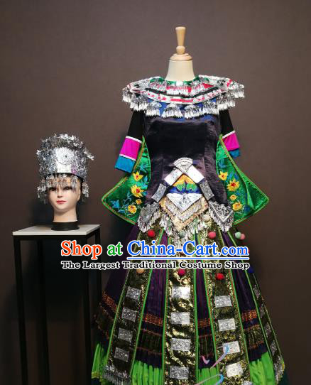 Custom China Xiangxi Ethnic Clothing Tujia Nationality Folk Dance Black Blouse and Skirt Traditional Minority Festival Costumes and Headwear