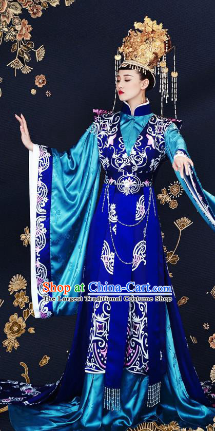 Drama Princess Weiyoung Chinese Ancient Queen Costumes Traditional Southern and Northern Dynasties Empress Blue Apparels and Headwear