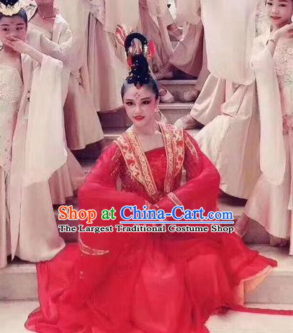 China Women Group Dance Red Dress Traditional Classical Dance Costume Drama Stage Performance Clothing
