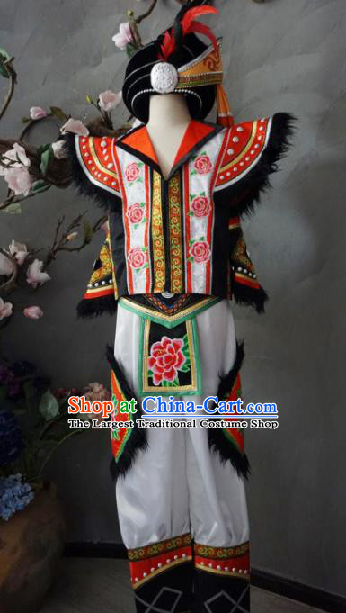 Custom China Yi Ethnic Folk Dance Clothing Traditional Minority Men Costumes Yi Nationality Bridegroom Apparels and Hat