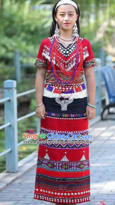 Custom China Ethnic Folk Dance Clothing Traditional Minority Women Costumes Wa Nationality Red Dress and Hair Accessories