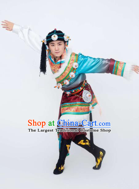 Custom China Zang Ethnic Folk Dance Clothing Traditional Minority Stage Show Costumes Tibetan Nationality Men Outfits and Headwear