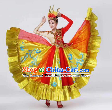 China Spring Festival Gala Dance Golden Dress Traditional Dance Costume Folk Dance Performance Clothing and Headwear