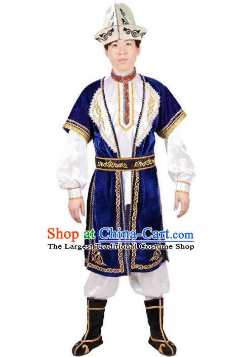Custom China Ethnic Dance Clothing Traditional Minority Men Costumes Kazak Nationality Blue Vest Shirt Pants and Hat