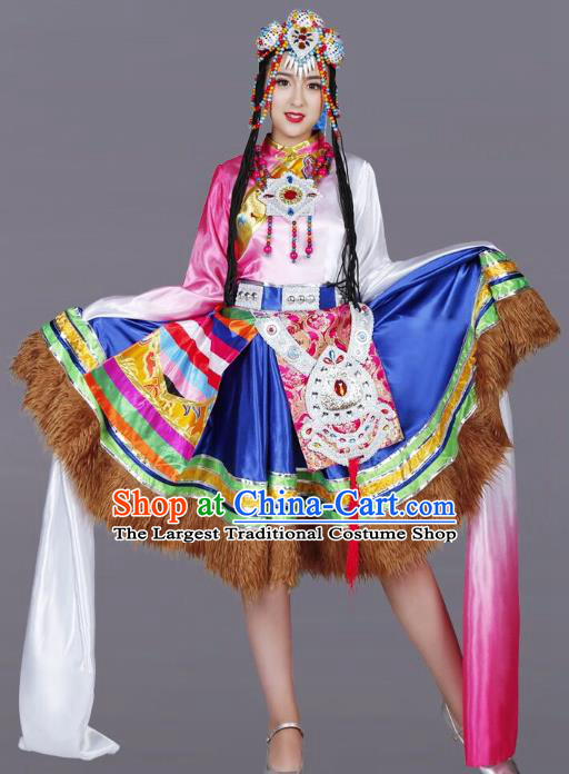 Custom China Zang Ethnic Dance Clothing Traditional Minority Dress Tibetan Nationality Water Sleeve Costumes and Headwear