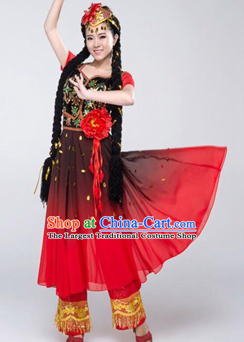 Custom China Ethnic Dance Clothing Traditional Xinjiang Minority Dress Uyghur Nationality Costumes Red Vest and Skirt and Hat