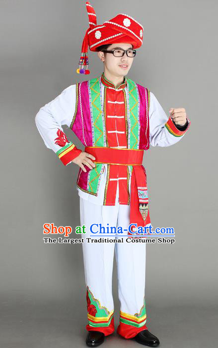 China Yi Ethnic Men Clothing Custom Traditional Yi Minority Nationality Folk Dance Costumes and Hat