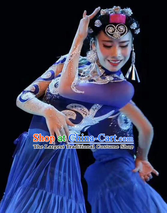 China Yi Ethnic Dance Clothing Custom Traditional Yi Minority Nationality Stage Show Costumes Blue Dress and Hair Accessories