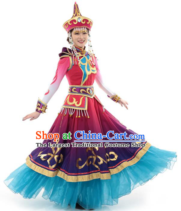 China Mongolian Ethnic Princess Dress Clothing Custom Traditional Moggol Minority Nationality Folk Dance Costumes and Hat