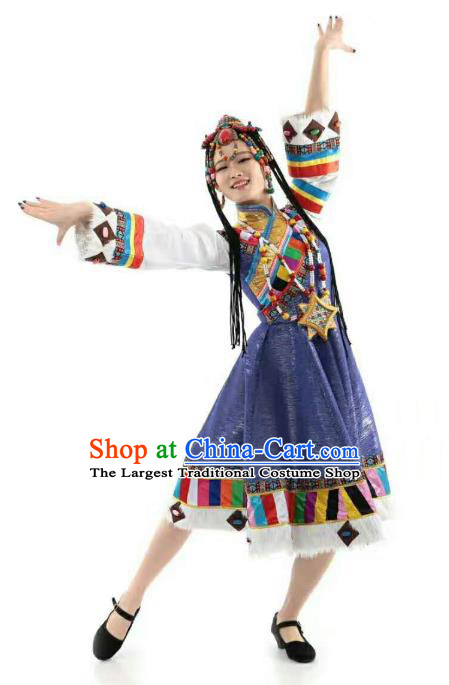 China Tibetan Ethnic Folk Dance Clothing Custom Traditional Zang Minority Nationality Costumes Blue Dress and Headwear
