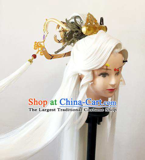 China BJD Swordsman White Wig Sheath Cosplay Ancient Taoist Priest Wigs and Hair Accessories