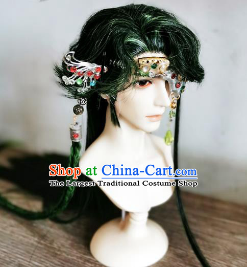 Handmade China Cosplay Lo Luo Wigs Ancient Knight BJD Swordsman Green Wig Sheath and Hair Accessories