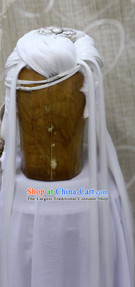 Handmade Cosplay Knight White Wig Sheath China Ancient Swordsman Wigs and Hair Accessories
