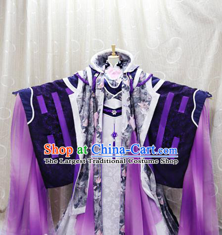 China Cosplay Swordswoman Purple Dress Clothing Custom Traditional Ancient Female Knight Su Huanzhen Costumes