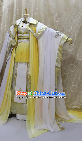 China Ancient Emperor Golden Clothing Custom Professional Cosplay Swordsman King God Costumes