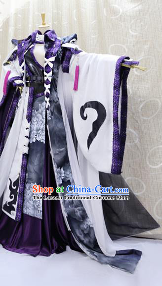 Professional Cosplay Taoist Priest Hua Xinfeng Costumes Custom China Ancient Swordsman King White Clothing